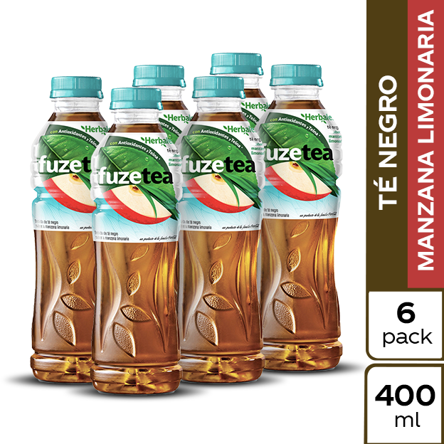 Fuze Tea Negro Manzana 400 ml 6 pack